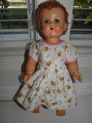 """Vintage 16"""" Ideal Baby Doll With Curly Red Hair Tear Holes Sleep Eyes"""