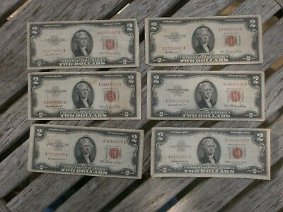 (6) $2 Red Seal United States Notes, Series 1953 & 1963