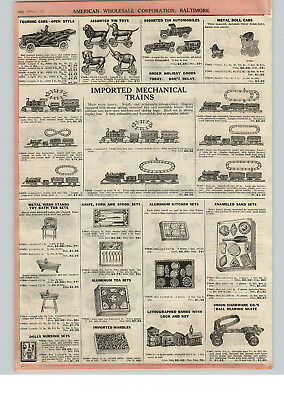 1922 PAPER AD Mechanical Toy Painted Litho Cast Iron Metal Pool Table Trains