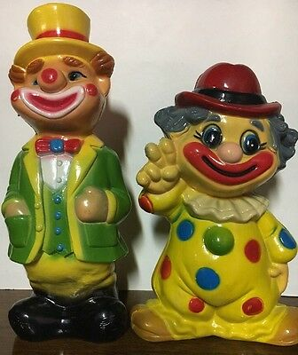 Lot of 2 Collectible Vintage Hard Plastic Clown  Banks