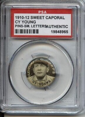 Cy Young HOF 1910-12 Sweet Caporal Pins P2 - Small Letters - PSA Authentic
