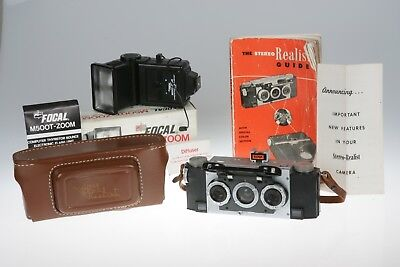 Stereo Realist 35mm Film 3D CAMERA KIT Guide Electronic Flash ++ READY TO SHOOT