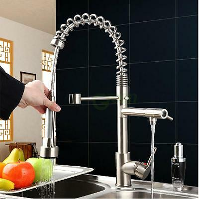 New Pull Down Spray Kitchen Sink Faucet Spring Mixer Tap Brushed Nickel