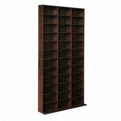 NEW Sturdy Base Adjustable Shelves CD DVD BluRays Book Storage Shelf - Brown