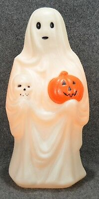 Vintage Empire GHOST HOLDING PUMPKIN AND SKULL Halloween Lighted Blow Mold