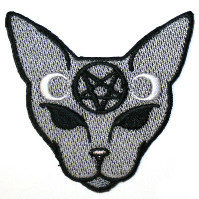 Inverted Pentagram Cat Iron On Patch Embroidered Gothic Satan Wicca Witch Moon