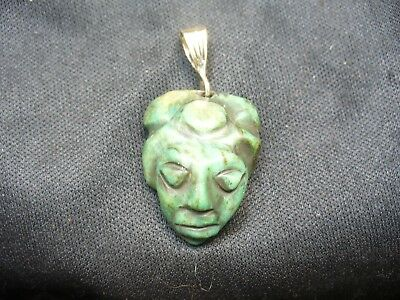 Authentic Pre Columbian Green Jade Pendant with 14k Bale