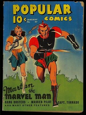 Popular Comics #47 Nice 1st Martan the Marvel Man Cover Early Dell 1939 GD-VG