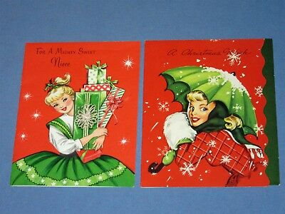 2 Vintage 50s Pretty Girl Lady Christmas Card umbrella muff presents