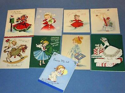 Lot of 9 Vintage 50s Girl Lady Christmas Card muff coat gifts pop-up angel