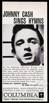 1959 Johnny Cash photo Hymns album release vintage print ad