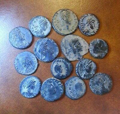 Lot Of 14 Genuine Ancient Roman Empire Coins Sharp Desert Patina Mix Reverses