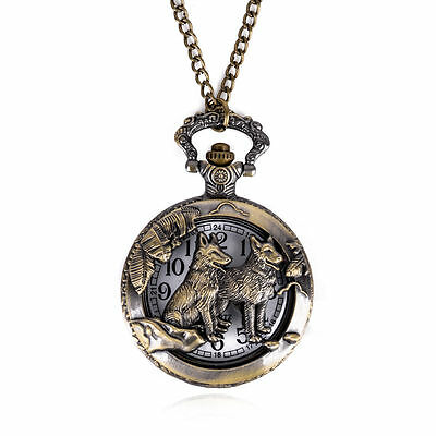 Retro Bronze Animal Wolf Vintage Pocket Watches Pendant Quartz Necklace Chain LU