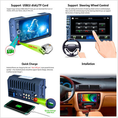 """Car 7"""" 2-Din HD AUX Bluetooth Stereo MP5 Player GPS RDS Mirror Link For Android"""