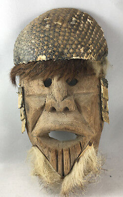 Mask Fur Shell Tiny Shells  Wood Vintage Collectible Mexican Ethnic Folk Art