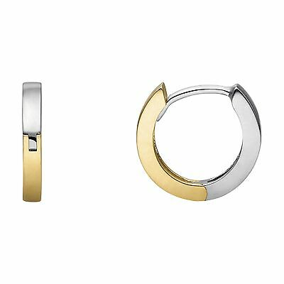 Hoop Earrings 585 Gold Bicolour Women's Yellow Gold/White New (421000501)