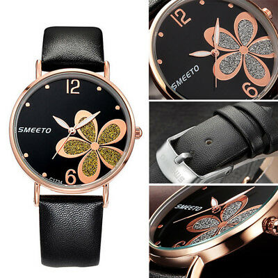 Women Fashion Leather Band Analog Quartz Round Steel Wrist Watch Watches New