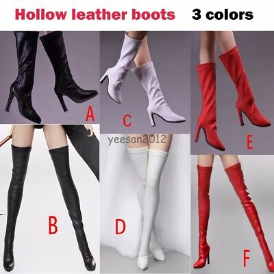 Hot Figure Toys 1/6 Female Leather High Heels Long Boots Shoes F12'' Phicen Body