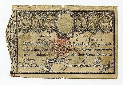 Rare Original First Banknote of Portugal Money 1799 20 000 REIS stamped D Miguel