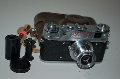 Zorki-5 RED NAME Soviet Rangefinder Camera and Industar Lens. 5818331. UK Sale.