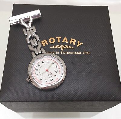 New ROTARY NURSES FOB PIN WATCH  STAINLESS STEEL BASE 30PULSATION Luminous Boxed