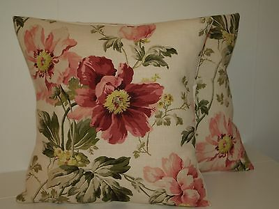 """Laura Ashley Peony Garden Cranberry Pair Of 16"""" Cushion Covers"""