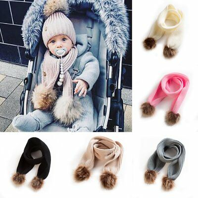 Toddler Kids Baby Girls Boys Winter Warm Crochet Knitted Fur Pom Scarf Scarves