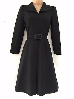 Japanese Vintage 1970's Classic Black Long Sleeve Belted Day Dress Size 6