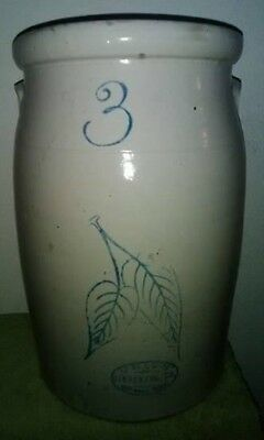 3 Gal. Butter Churn with Birch Leaves & Blue Writing by Union Stoneware