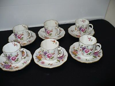 6 x Beautiful Vintage Royal Crown Derby Posies Coffee Cup Saucer Duos   WS