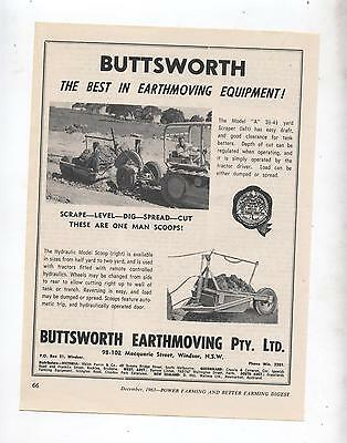 Buttsworth Scraper Advertisement removed from 1963 Farming Magazine Tractor