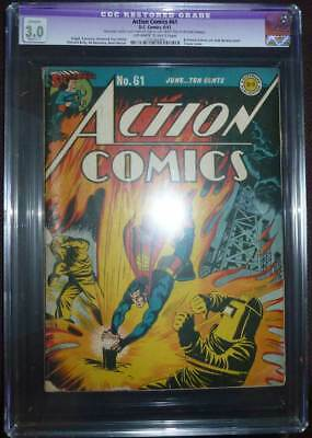 Action Comics # 61  Classic Superman cover !  CGC 3.0 rare Golden Age book !