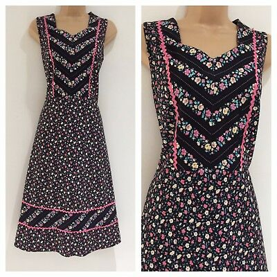 Vintage 70's Black White & Pink Floral Ric Rac Trim Prairie Boho Day Dress 10