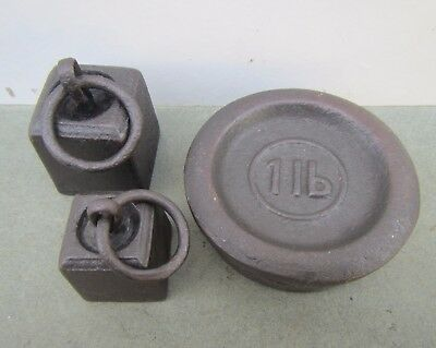 3 Old Iron Weights for Scales - 1LB, 8oz, 4oz