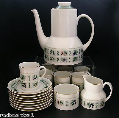 Tapestry Vintage Retro English China Coffee Set for 8 Coffee Pot Sugar Creamer