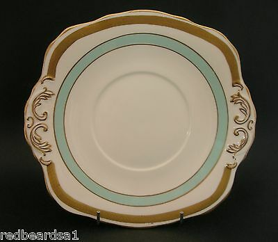 HM Sutherland Gold Turquoise Vintage China Cake Sandwich Plate c1940s England