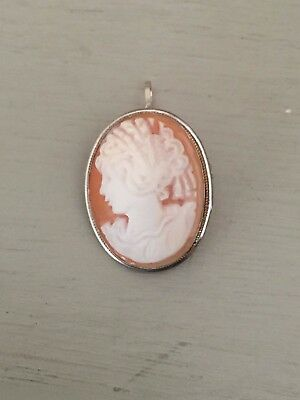 Vintage 1968-70 Italian Napoli Silver 925 Shell Carved Cameo Brooch or Pendant