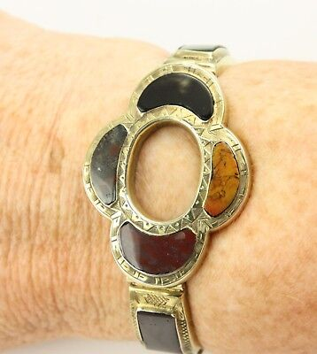 Antique Victorian c1890 gold plated sterling silver Scottish agate bracelet