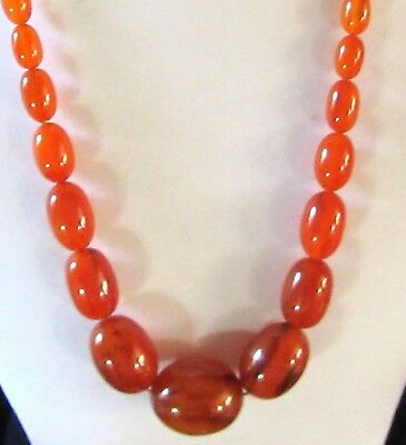 Old Art-Deco Amber/bakelite Necklace Is 27.inches Long