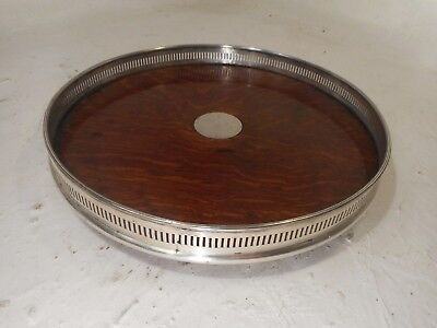 Antique Tiger Oak Silver Plate Gallery Tray  ref 3009