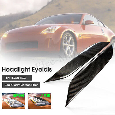 Carbon Fiber Headlight Eye Lid Eyelids Cover For Nissan 03-08 350Z Z33 Fairlady
