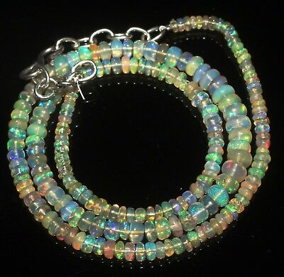 38 Ctw 2-5 Mm 16 Natural Genuine Ethiopian Welo Fire Opal Beads Necklace-R5817