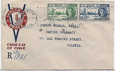 1946 Malta 'Victory' illustrated First Day Cover