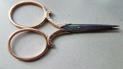 14 K gold scissors sewing golden Dutch late 1800 embroidery