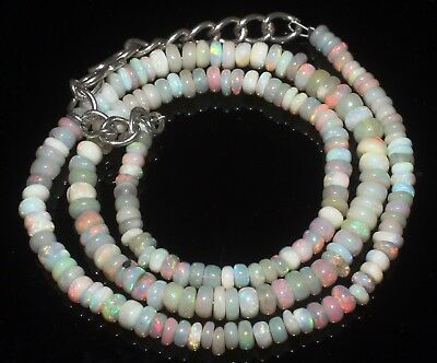 37 Ctw 3-5 Mm 15 Natural Genuine Ethiopian Welo Fire Opal Beads Necklace-R6340