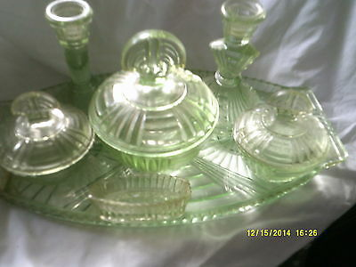 Bagley Green Glass Dressing Table Set 7 Pieces In Good Condition