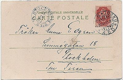 Finland sg136 4k pink on 1901 postcard to Stockholm