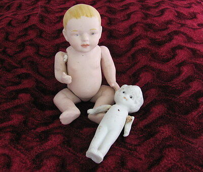 """2 Porcelain/Bisque Dolls Girl Doll  3"""" Jointed arms Japanj.Joined  Boy Doll 5"""""""