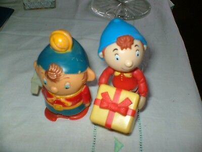 TWO AMAZING LITTLE 3ins VINTAGE NODDYS ONE CARRIES A PARCEL OTHER WALKS