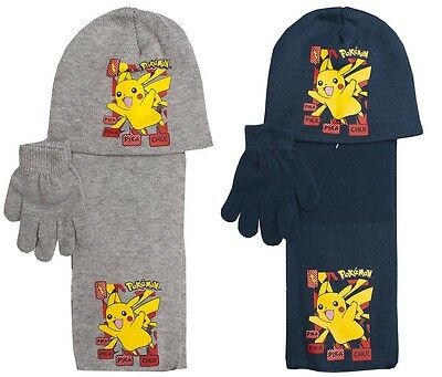 Boys Official Pokemon Pikachu Knit Beanie Hat Scarf & Gloves Set 3 to 12 Years